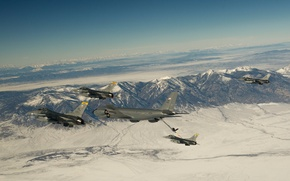 Picture snow, flight, mountains, fighters, F-16, Fighting Falcon, Stratotanker, tanker aircraft, Boeing KC-135