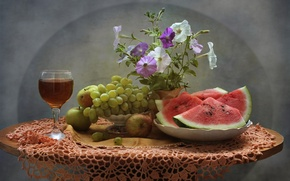 Picture flowers, wine, watermelon, grapes