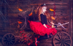 Picture holiday, girl, witch