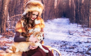 Picture winter, girl, hat, puppy, fur