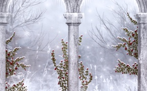 Wallpaper winter, snowflakes, Gothic, icicles, columns, ruins