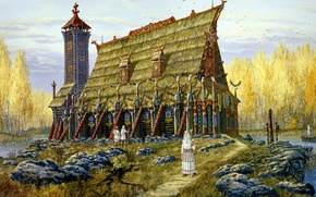 Picture lake, tower, temple, painting, history, ancient, Vsevolod Ivanov, Russian folklore, Slavic, The Temple Of The ...