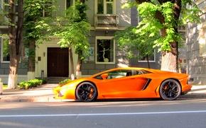 Picture orange, street, profile, lamborghini, orange, Kiev, aventador, lp700-4, Lamborghini, aventador, Kiev