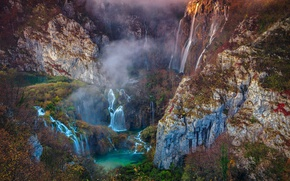 Picture forest, trees, mountains, rocks, waterfall, Croatia, National Park Plitvice lakes