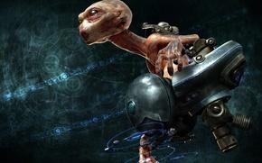 Wallpaper head, alien, fiction, flight, chair, monster
