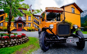 Picture trees, Norway, bus, flower garden, Dalen Hotel, hotel valley