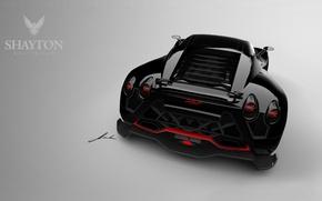Picture sports car, Shayton Equillibrium, rear lights, black car