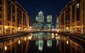 Picture skyscrapers, bridge, London, home, England, London, the city, night, river, England, Docklands