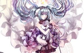 Picture girl, flowers, anime, headphones, art, microphone, vocaloid, hatsune miku, 7th dragon, kkkkona