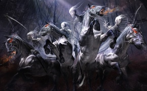 Wallpaper forest, rain, horses, sword, bow, art, braid, riders, skeletons, undead, yayashin