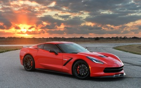 Picture Sunset, Red, Auto, Corvette, Chevrolet, Machine, Tuning, Car, Stingray, Corvette, Twin Turbo, Chevrolet, Sports car, …