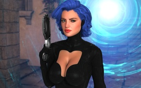 Picture chest, girl, gun, fiction, hair, the portal, hairstyle, costume, blue hair