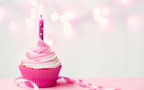 Wallpaper birthday, candle, cream, Happy Birthday, pink, cupcake, cupcake, candle