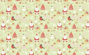 Wallpaper winter, holiday, New year, sleigh, Santa Claus, bullfinch