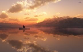 Picture lake, boat, fisherman, morning