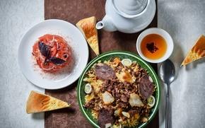 Picture tea, food, eggs, kettle, bow, bread, meat, figure, tomato, carrots, dish, Uzbek dish, Pilaf, Basil, …