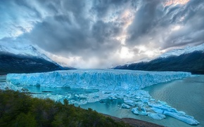 Wallpaper iceberg, water, mountains, landscape, forest