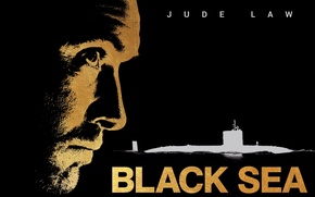 Picture face, silhouette, submarine, profile, black background, poster, Jude Law, submarine, Jude Law, The black sea, …