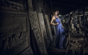 Picture girl, pose, style, dress, Asian, sculpture