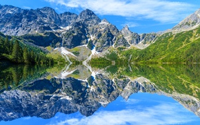 Picture the sky, the sun, clouds, trees, lake, reflection, stones, Poland, Tatra Mountains, Sea Eye lake, ...