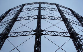 Picture the sky, bridge, metal, mesh, design, structure