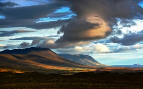 Picture clouds, mountains, sunrise, shadows, Iceland