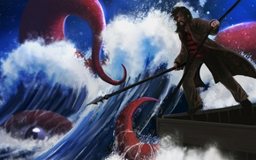 Picture sea, look, the ocean, people, art, tentacles, spear