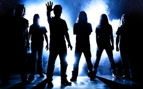 Picture group, silhouettes, rock, musicians, iron maden