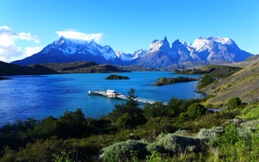 Picture the sky, mountains, lake, pier, pierce, Chile, Chile, Patagonia, Patagonia, Torres del Paine, Lake Pehoe