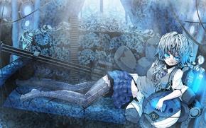 Picture girl, weapons, sofa, skirt, stockings, anime, tie, lies, minigun