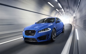 Picture auto, Jaguar, Blue, Jaguar, The hood, Lights, The tunnel, the front, XFR-S, In motion