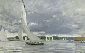 Picture picture, Sailboat, seascape, Claude Monet