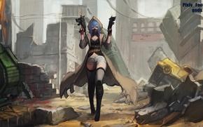 Picture girl, weapons, destruction, sleeve, anime, art, pixiv fantasia