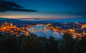 Picture night, bridge, lights, river, building, Hungary, Budapest, The Danube