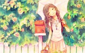 Picture smile, umbrella, girl, good mood, Inbox