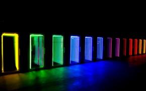 Wallpaper light, neon, door, display