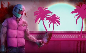 Picture palm trees, blood, helmet, cleaver, Hotline Miami