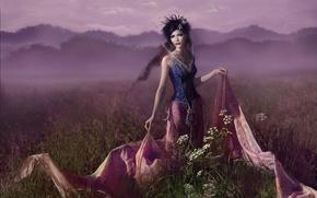 Picture field, grass, fog, Dress