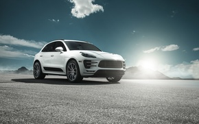 Picture car, Porsche, white, Macan