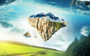 Picture mountains, nature, collage, polar bear, render, beautiful pictures