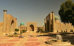 "Picture The city, Building, Samarkand, Square ""Registan"", Blue dome"