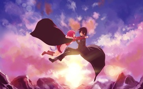 Picture the sky, girl, the sun, clouds, mountains, guy, sword art online, yuuki asuna