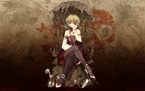 Picture roots, butterfly, blood, rose, skull, stockings, blood, kazami yuuka, gothic, flowers