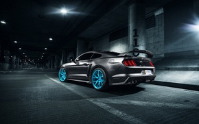 Picture Rear, Wheels, Roush X, Vossen, Blue, Mustang, Ford