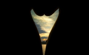 Picture sunset, nature, lake, silhouette