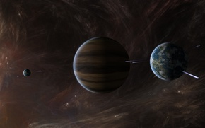 Wallpaper stars, planet, gas giant, interstellar gas