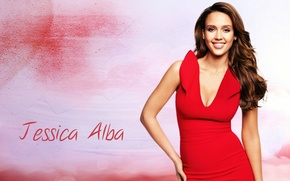 Picture smile, Jessica Alba, actress, red dress