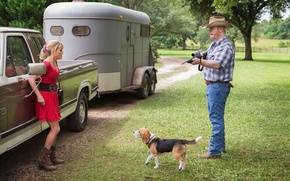 Picture machine, the situation, dog, jeans, frame, hat, dress, blonde, van, male, shirt, cowboy, in red, …