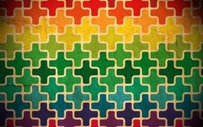 Picture color, cross, puzzle