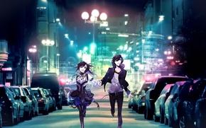 Wallpaper art, kazuaki, vampire kisses, jacket, alexander sterling, raven, guy, machine, the city, lights, girl, night, ...
